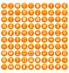 100 camera icons set orange vector
