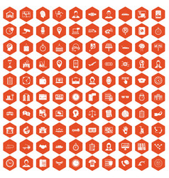 100 working hours icons hexagon orange vector