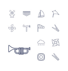 13 wind icons vector