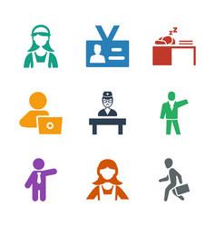9 employee icons vector image