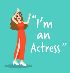 Actress character on green background flat design vector