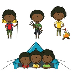 African-American camping boys vector image