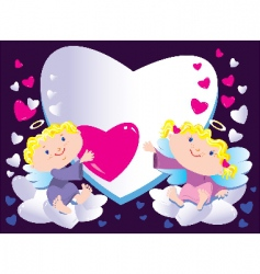 angels and heart vector image