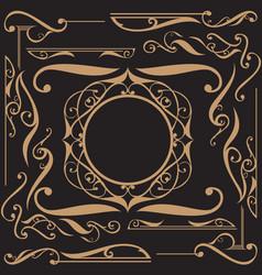 Art nouveau ornament set vector