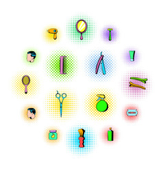 barber shop elements icons set comics style vector image