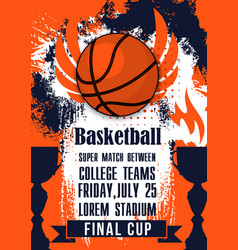 basketball college teams sport cup match poster vector image