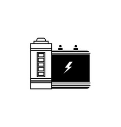 battery icon accumulator icon black on white vector image
