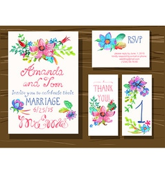 Beautiful set of invitation cards with watercolor vector image