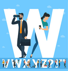 big w letter white letter with young people vector image