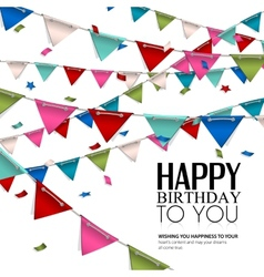 birthday card with confetti and bunting flags vector image