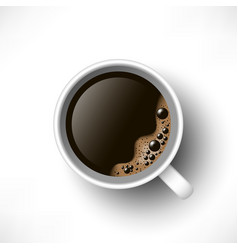 black coffee cup top view vector image
