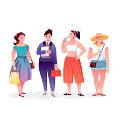 Body positive fat girls wearing stylish fashion vector