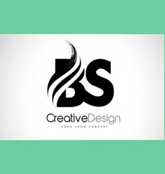 Bs b s creative brush black letters design with vector