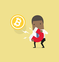 businessman attracting bitcoin with a large magnet vector image