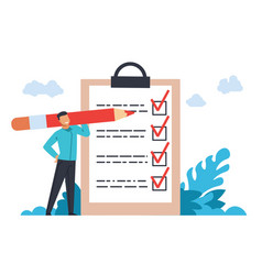 businessman with checklist young male marking vector image
