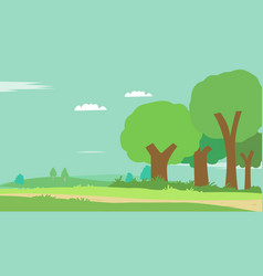 cartoon scene nature with sky background vector image