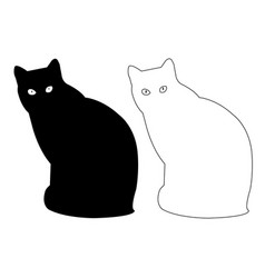 Cat silhouette outline icon eps set vector