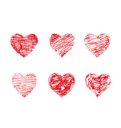 chalk red grunge textured hearts vector image
