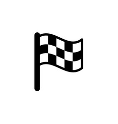 checkered flag glyph icon and pennant symbol vector image