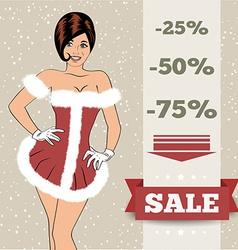 Chistmas sale background with sexy santa girl vector image