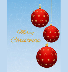 christmas card with red ball on a light blue vector image
