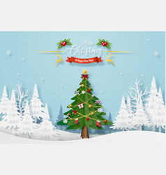 christmas tree with decoration in forest vector image