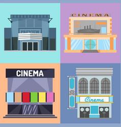 cinema building facade movie vector image