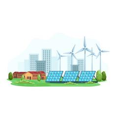 city landscape with concept renewable vector image