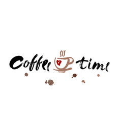 coffee time modern brush calligraphy handwritten vector image