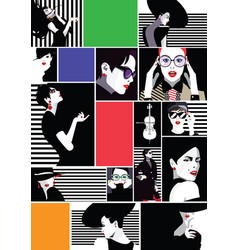 Collage of fashionable girls in style pop art vector
