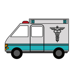 Color graphic ambulance truck with medical symbol vector