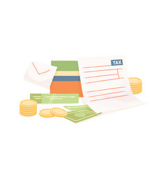 colorful composition with paper tax form and money vector image