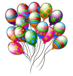 colorful easter eggs shape balloons flying vector image