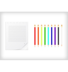 Colorful pencils with lined sheet of paper vector