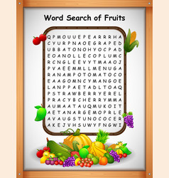 Crossword puzzles word find fruit for kids games vector