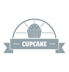 cupcake logo simple gray style vector image