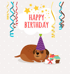 cute dog and cupcakes birthday card vector image