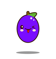 Cute plum fruit cartoon character icon kawaii flat vector