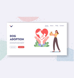 dog adoption landing page template female vector image
