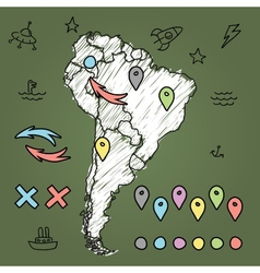 Doodle South America map on green chalkboard with vector image