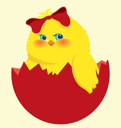 Easter egg and chick vector