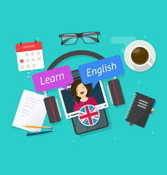 Education concept learn english online on vector