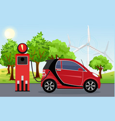 electric car red color on vector image
