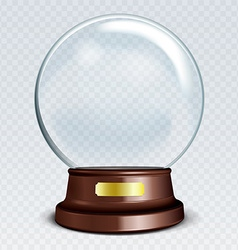 Empty Snow Globe White transparent glass sphere on vector