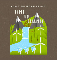 Environment day card green nature landscape vector
