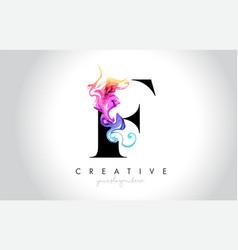 F vibrant creative leter logo design vector