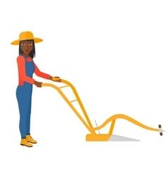 Farmer with plough vector