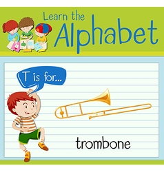 Flashcard letter T is for trombone vector