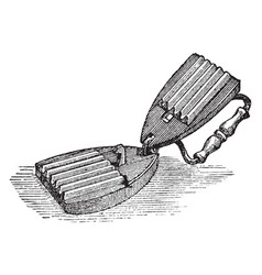 Fluting iron is a device for making flutes vector
