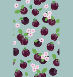 fresh purple plum seamless pattern with pink vector image